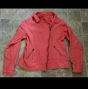 Maurices coral colored moto jacket size Large!